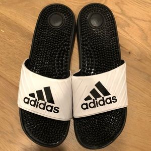 Adidas black and white slides